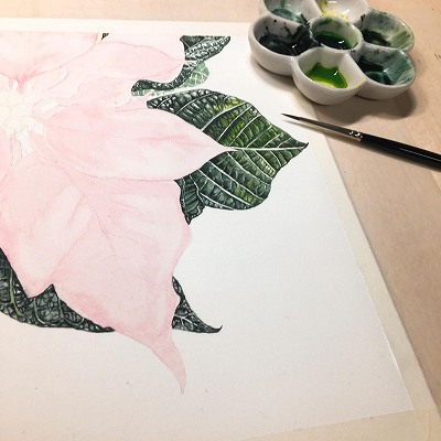 水彩画 植物 葉